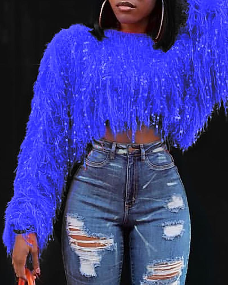 Solid Round Neck Fringed Fluffy Crop Sweater, Blue