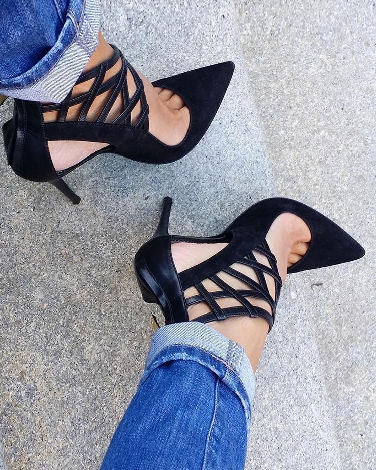 Pointed Toe Hollow Out Thin Pumps