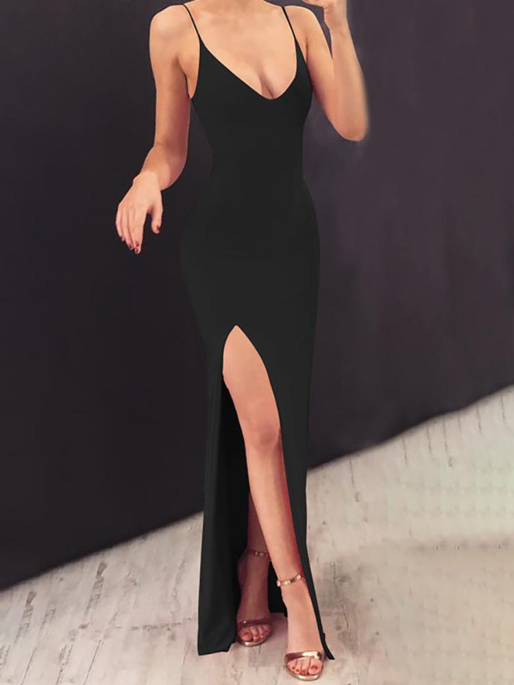 Solid Spaghetti Strap Slit Maxi Dress, Black