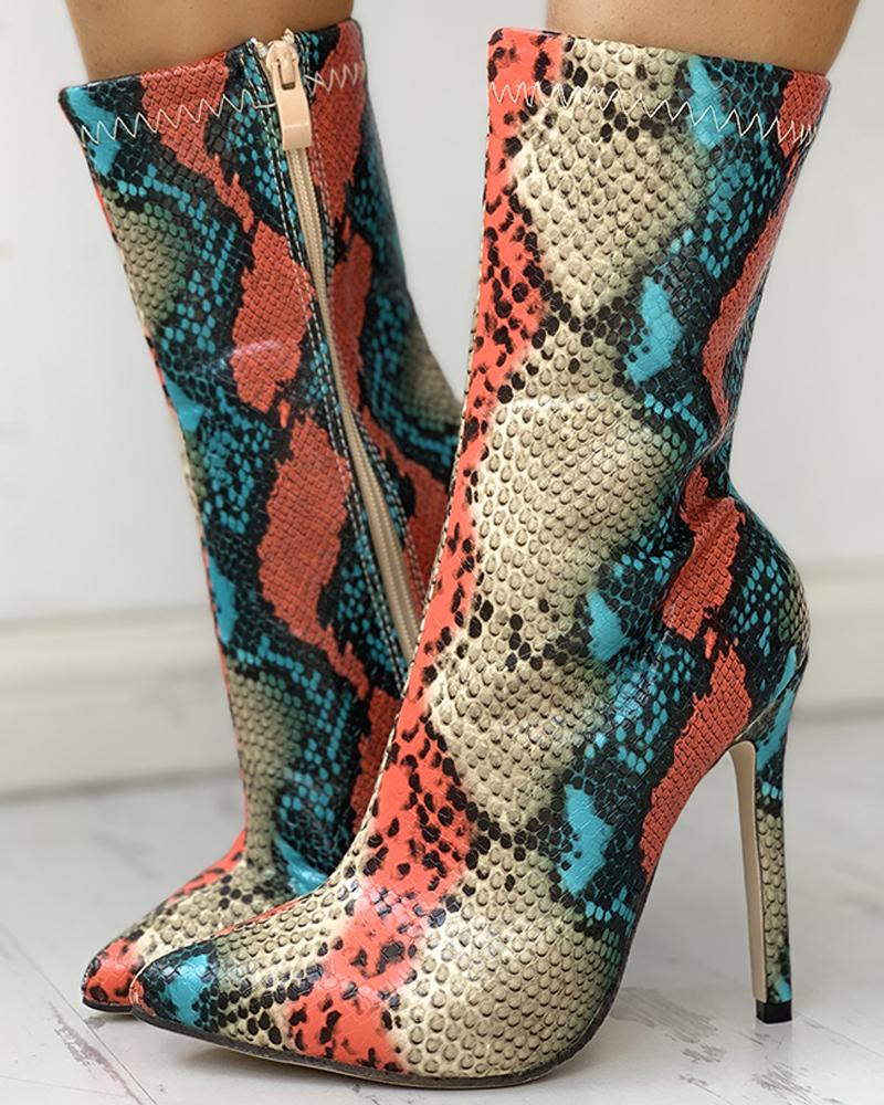 Snakeskin Print Pointed Toe Thin Heeled Boots, Multicolor