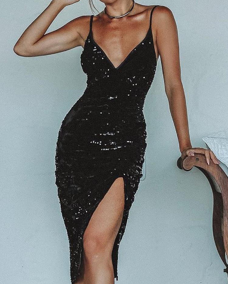 Deep V Thigh Slit Sequin Party Dress фото