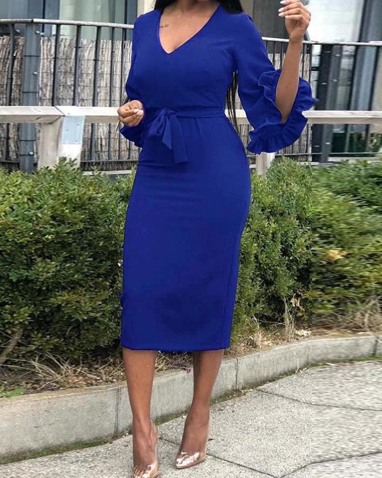 V-Neck Ruffles Sleeve Belted Dress фото