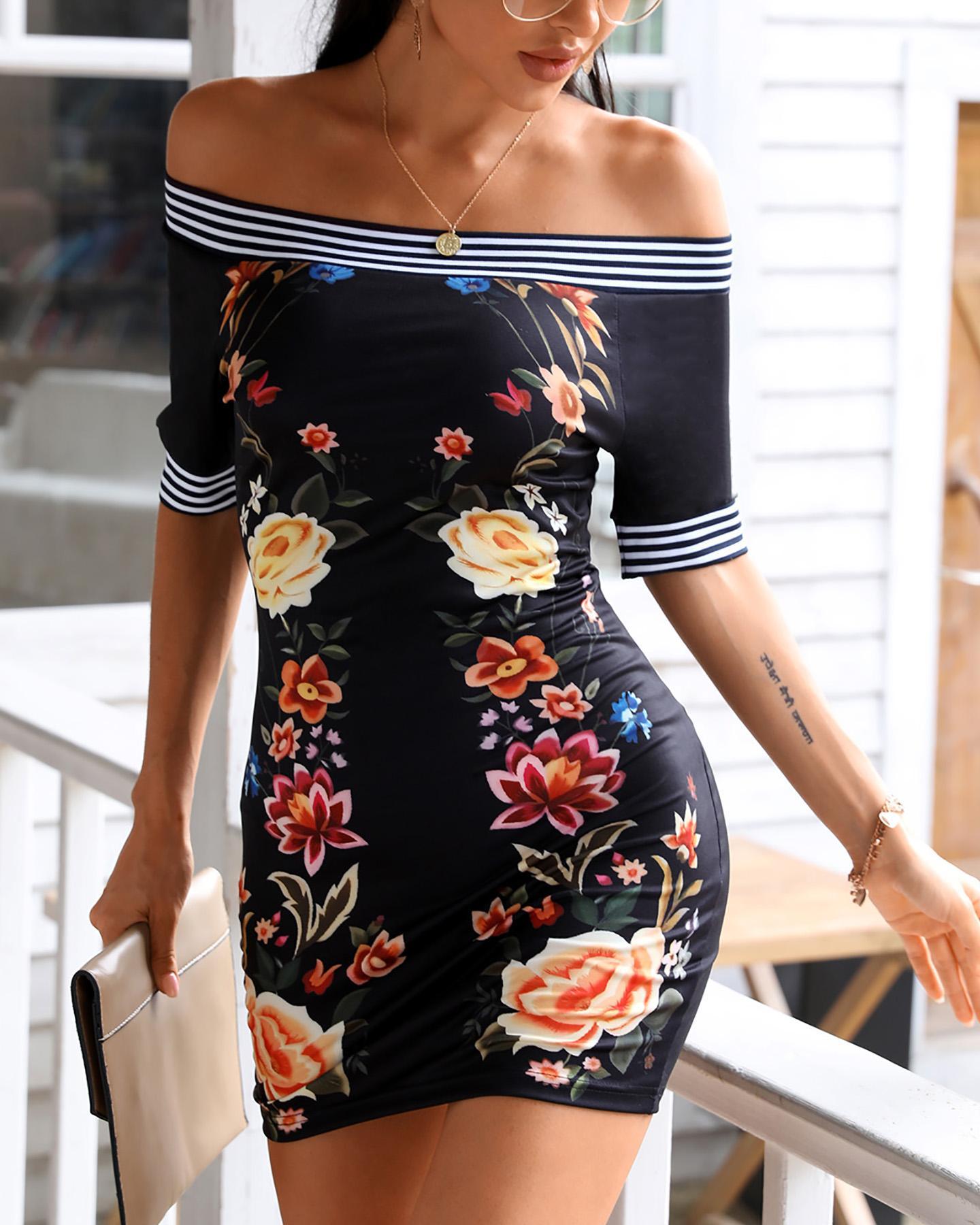 Off Shoulder Floral Print Striped Tape Colorblock Dress фото