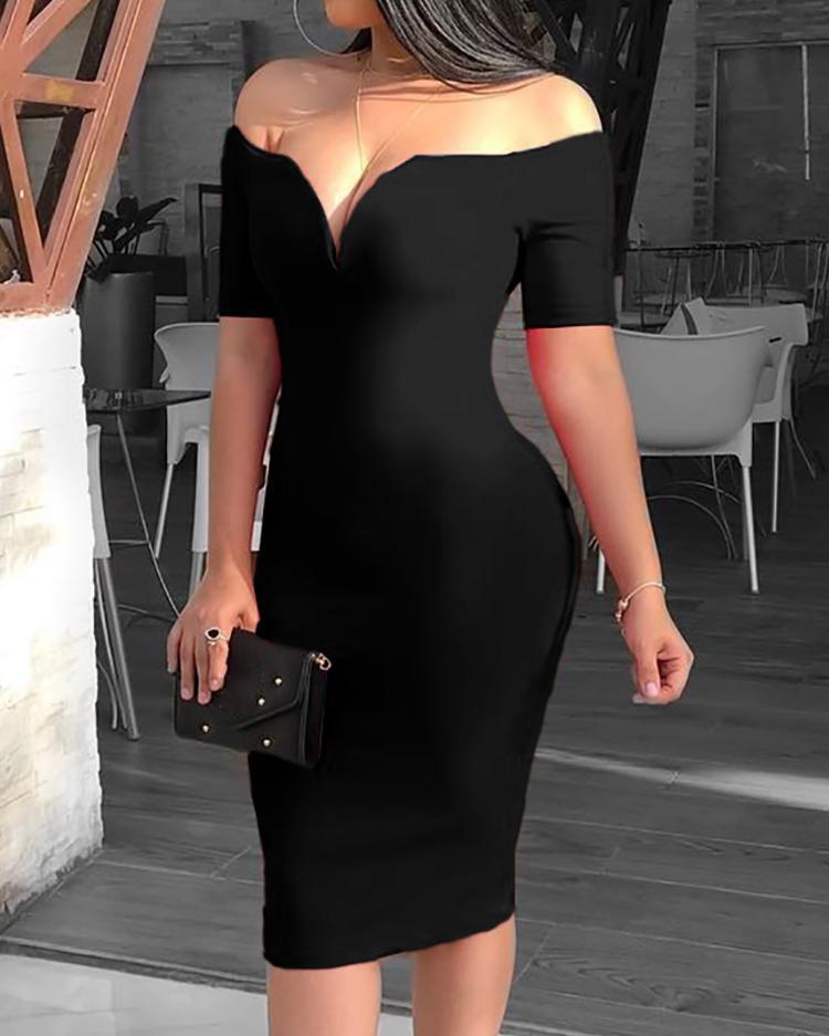 joyshoetique / Solid Off Shoulder Short Sleeve Midi Dress
