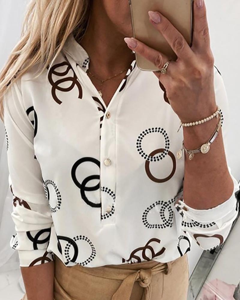 ivrose / Blusa casual de manga larga estampada con botones