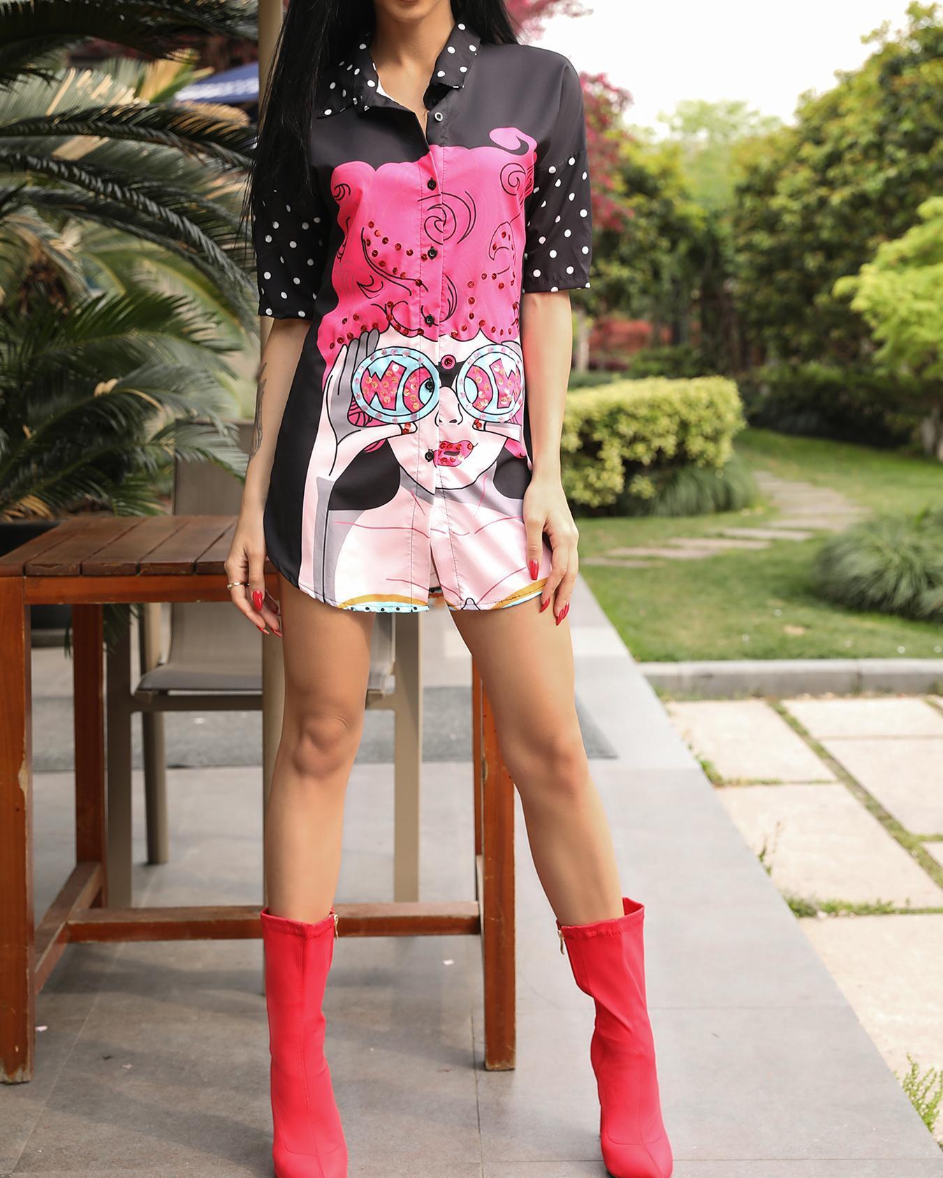 boutiquefeel / Oversize impressão digital curvo Hem vestido de camisa