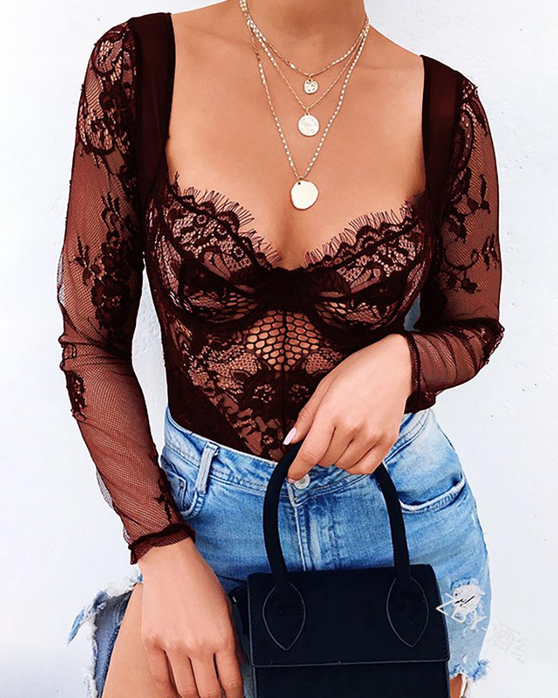 Eyelash Crochet Lace Hollow Out Bodysuit, Wine red