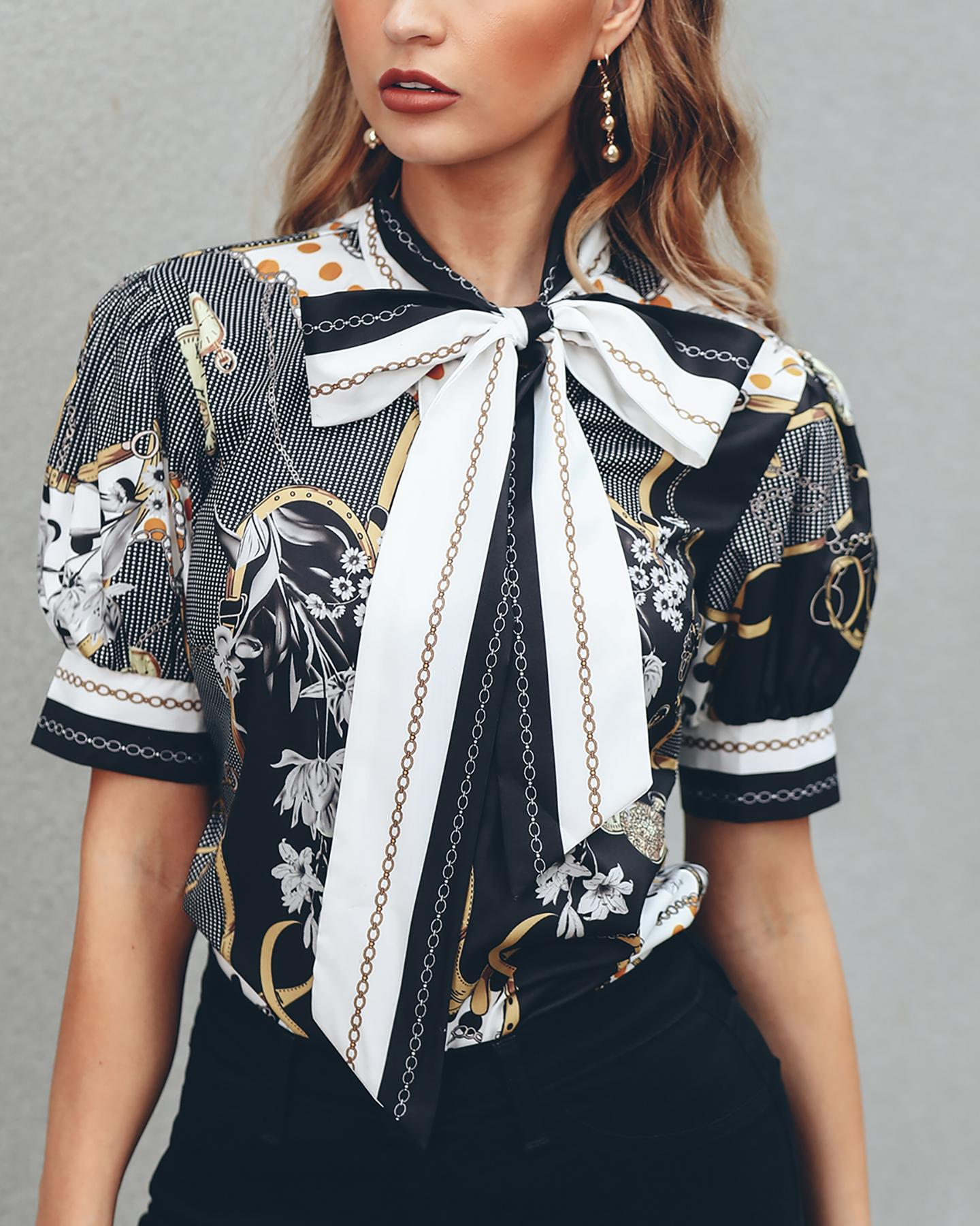 Chains Print Tied Neck Casual Blouse фото