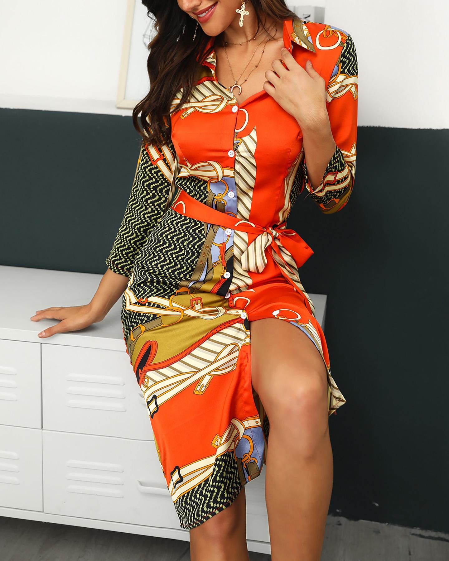 Mixed Print Button Up Shirt Dress фото