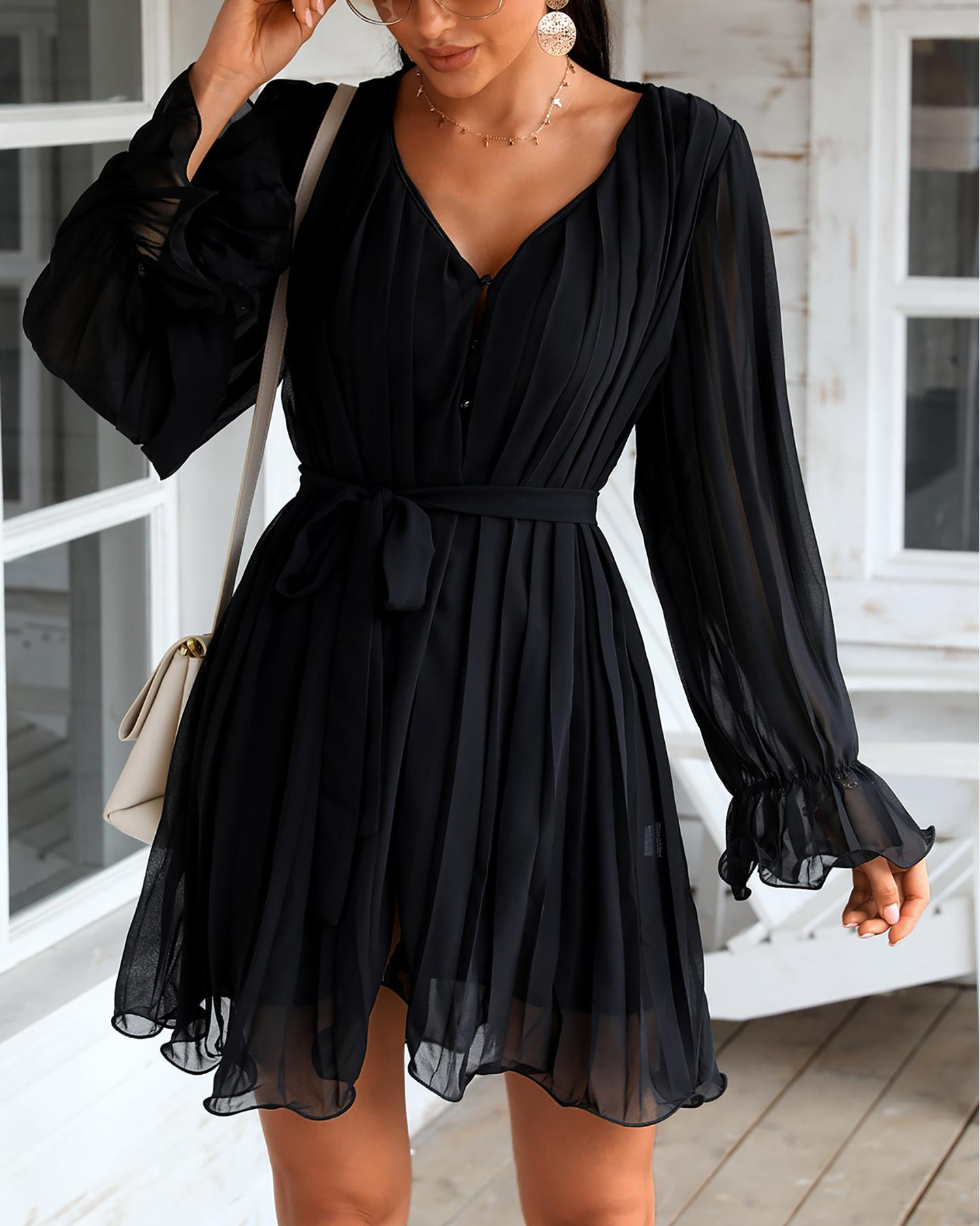 Button Design Mesh Sleeve Ruched Pleated Dress фото