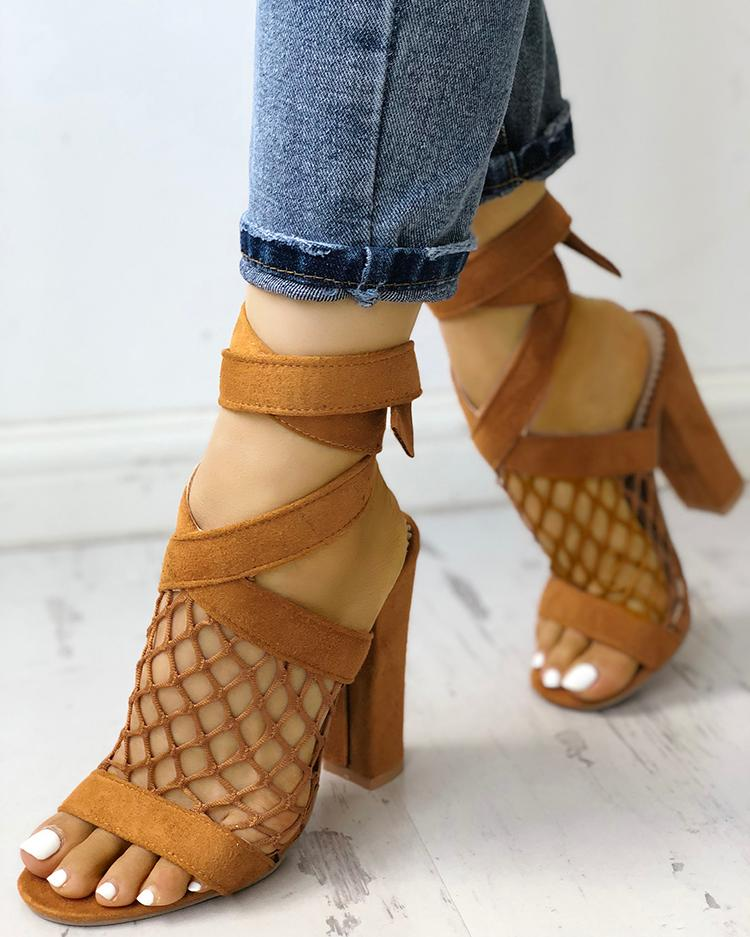 Hollow Out Lace-up Chunky Sandals фото