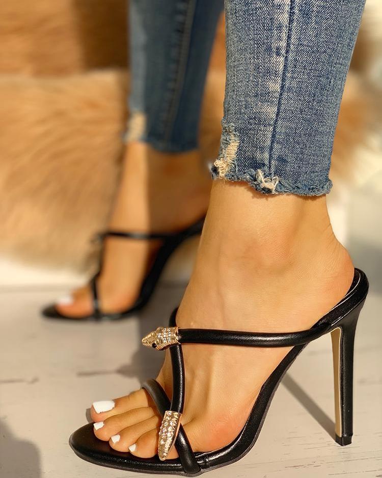 Studded Open Toe Strapy Slide Heels фото