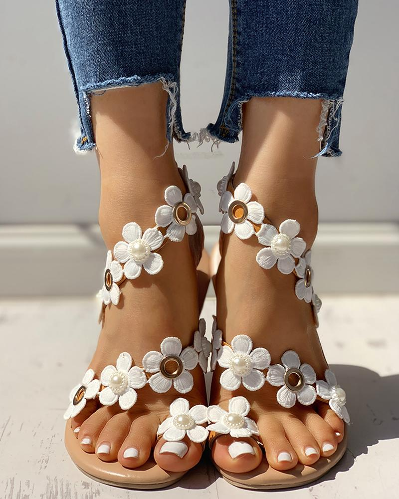 Floral Embellished Toe Ring Casual Sandals фото