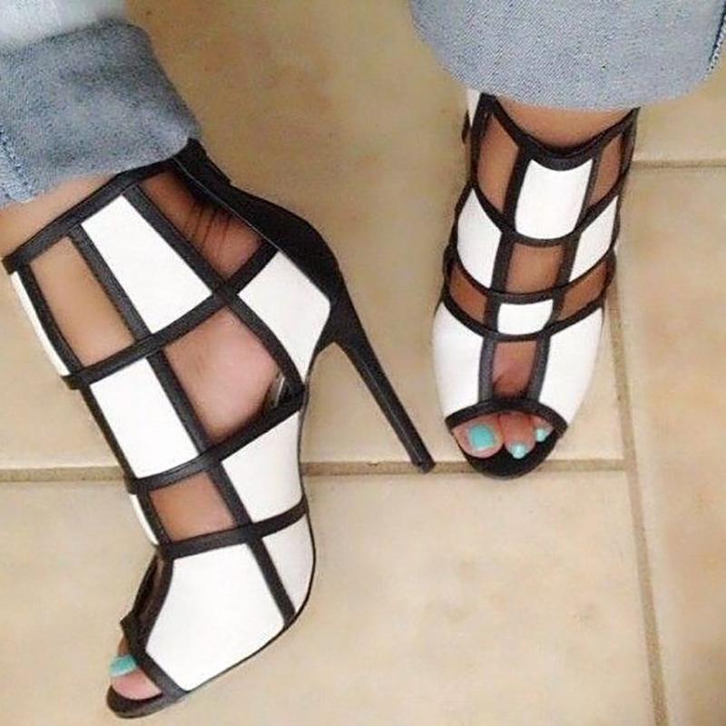 chicme / Contraste Color Peep Toe Enjaulado Sandalias de tacón alto