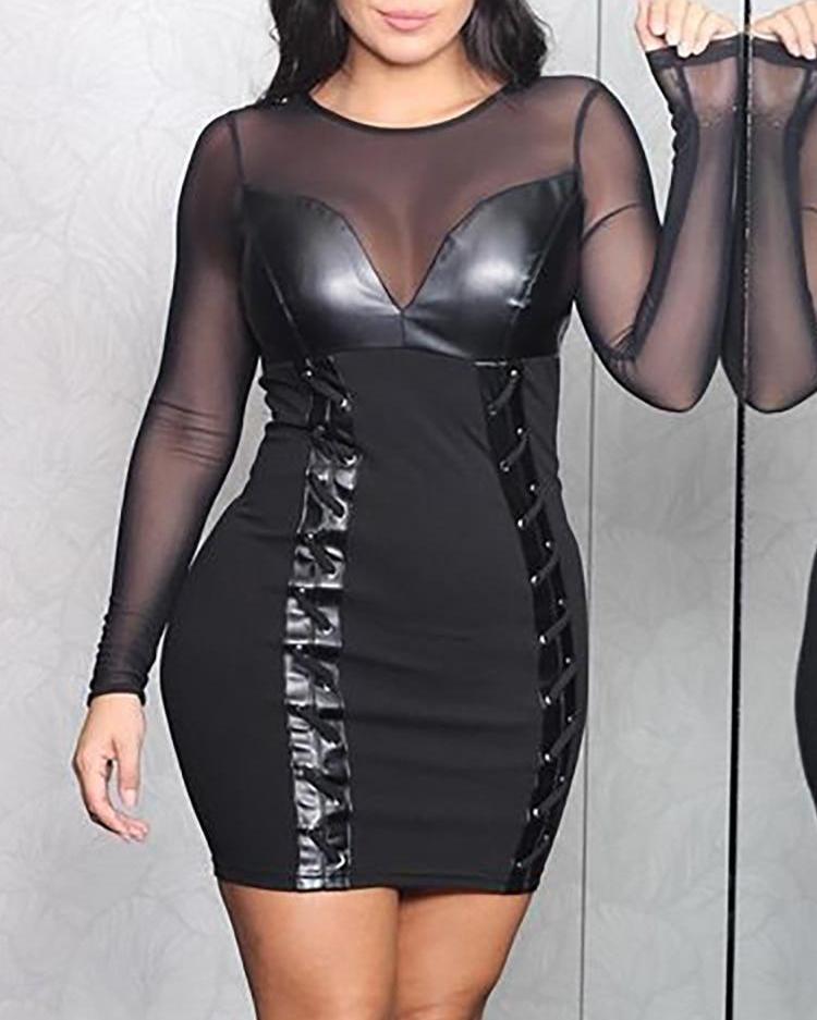 Mesh Insert Lace-Up Bodycon Dress фото
