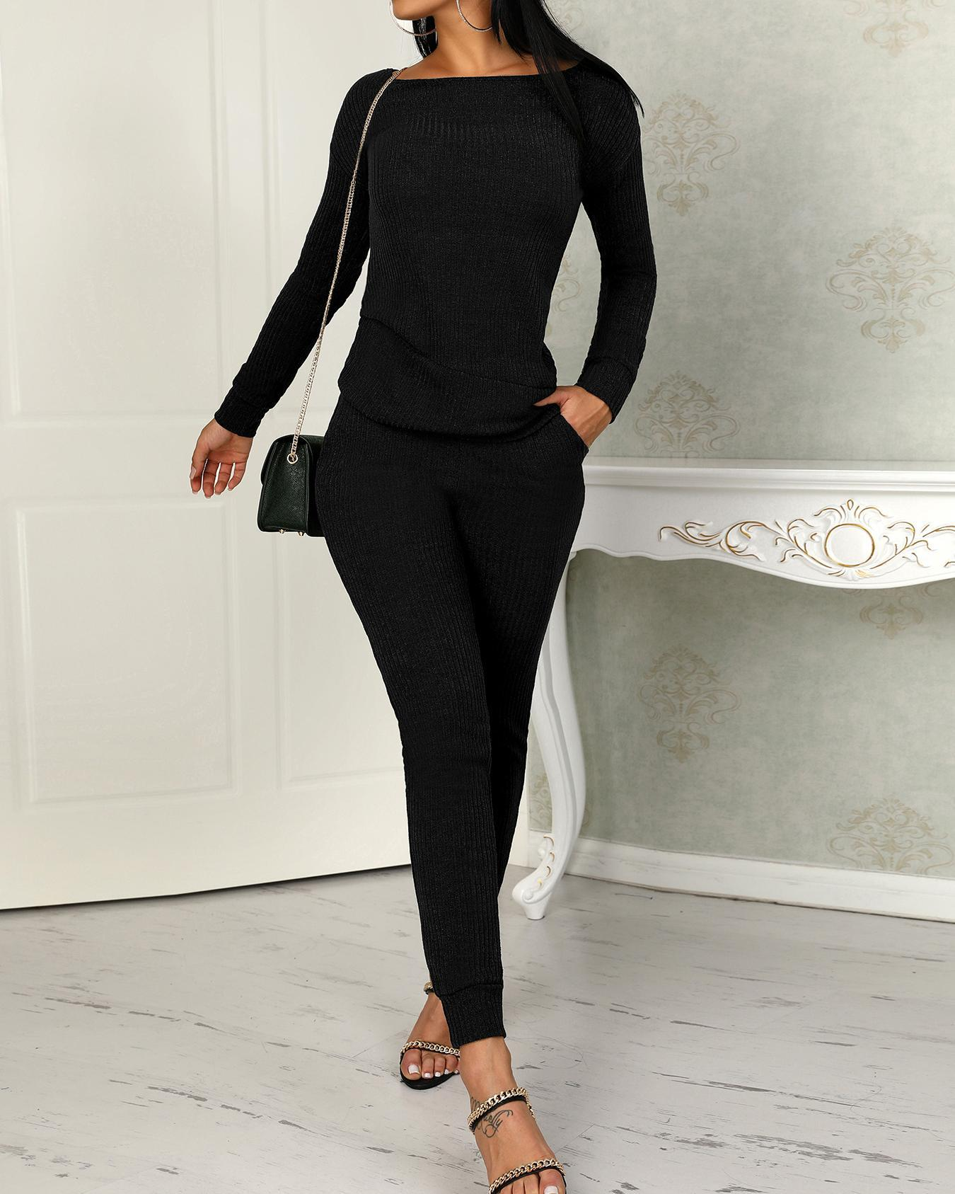 Long Sleeve Drawstring Knitted Top & Pants Set, Black