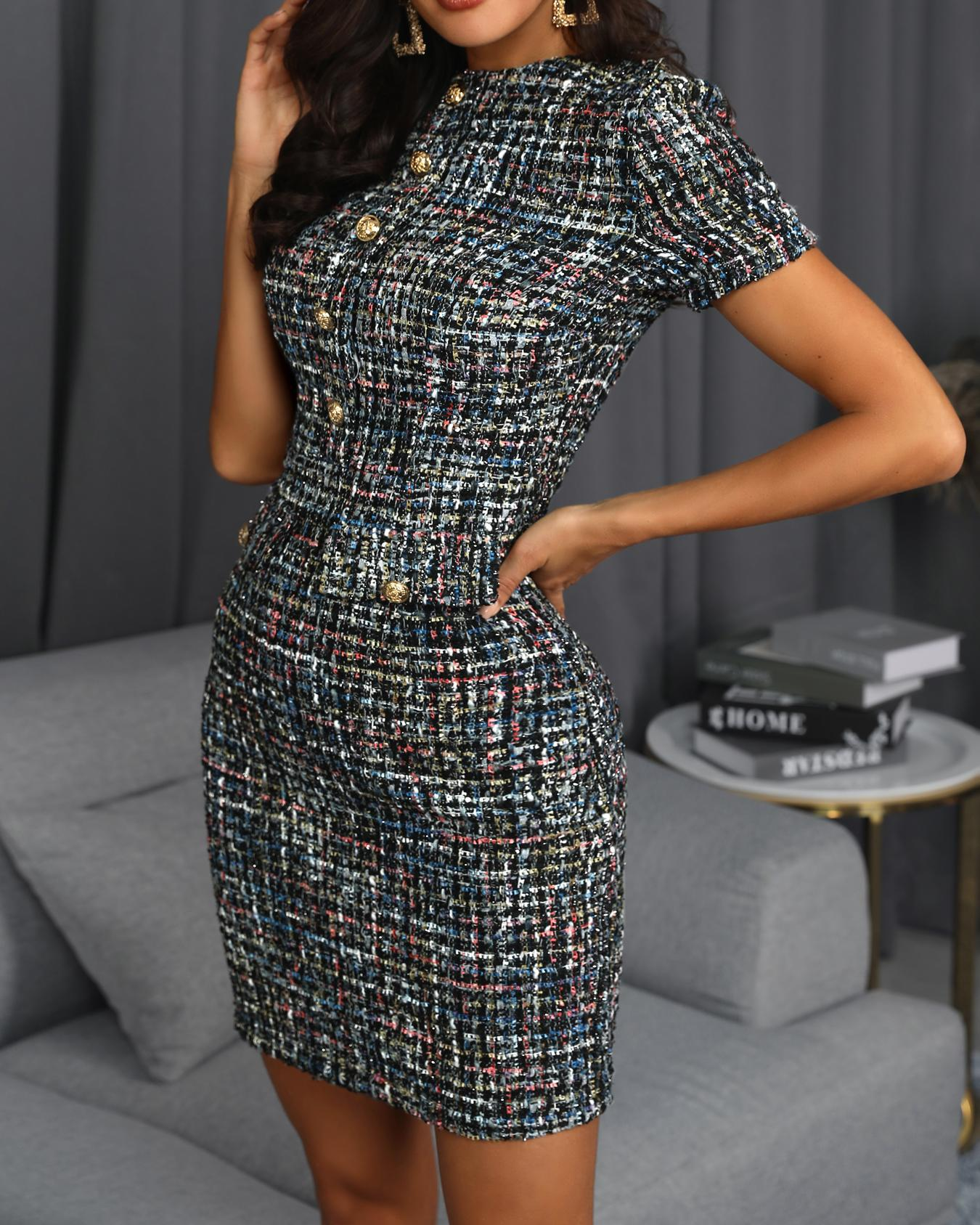 boutiquefeel / Short Sleeve Buttoned Tweed Shift Dress