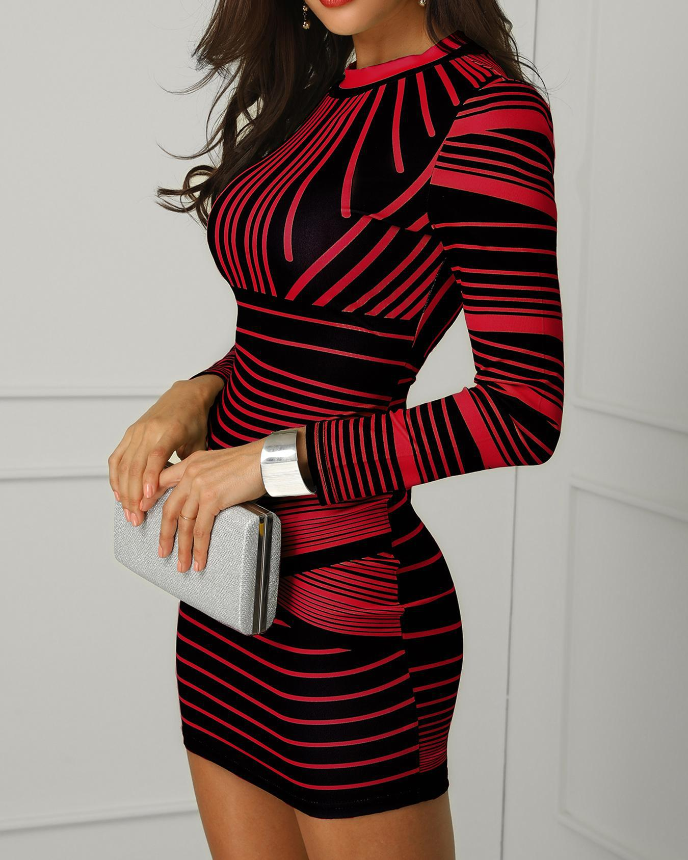 Contrast Striped Long Sleeve Bodycon Dress фото