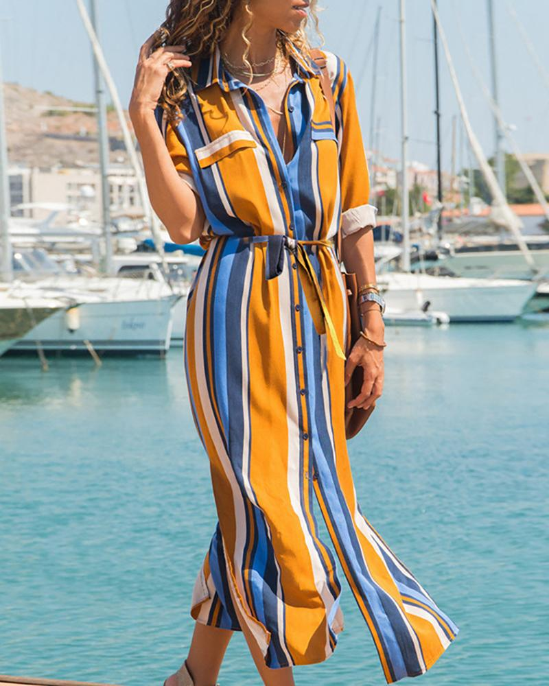 Colorful Striped Slit Shirt Dress фото