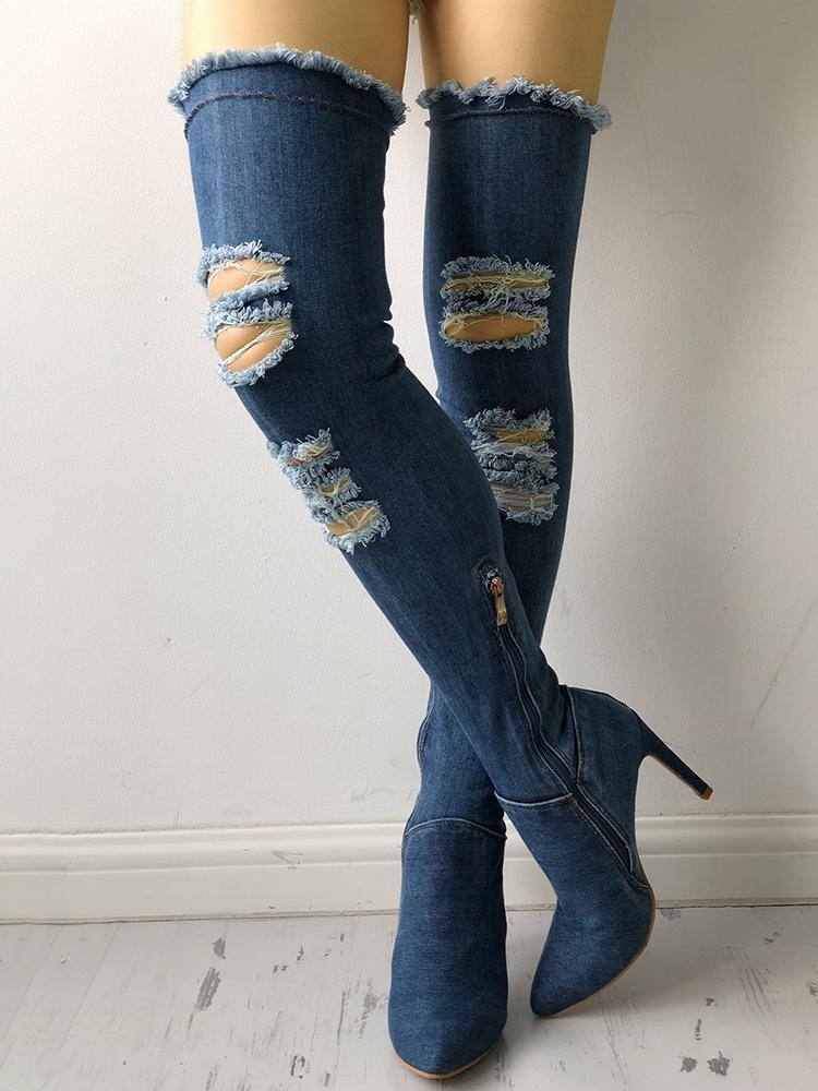 ivrose / Denim Knee-High Side Zipper Ripped Thin Heel Boots