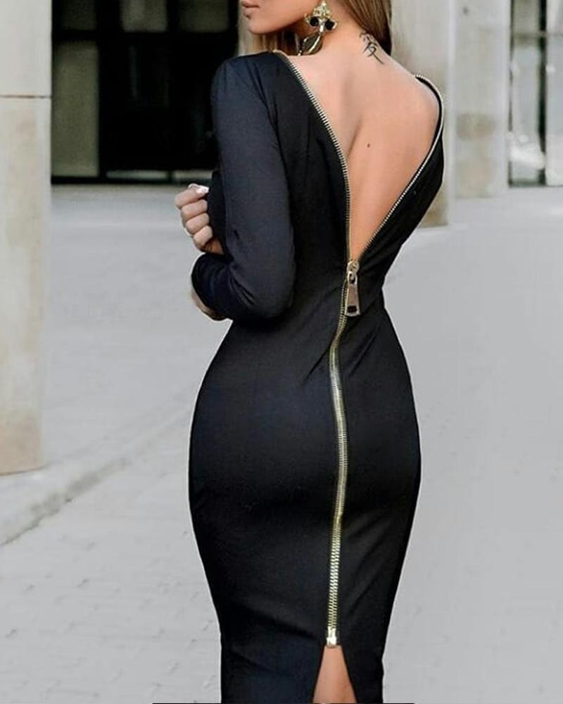 ivrose / Zip Voltar Sexy Bodycon Vestido