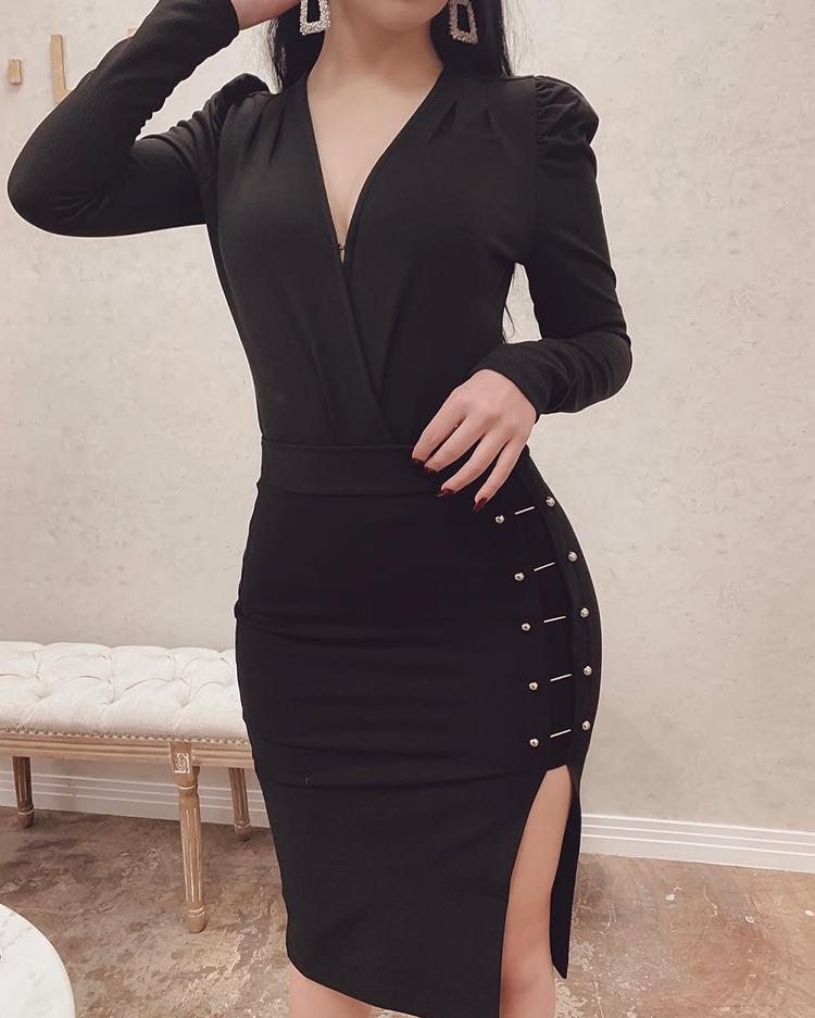 V-Neck Metal Embellished Slit Side Bodycon Dress фото