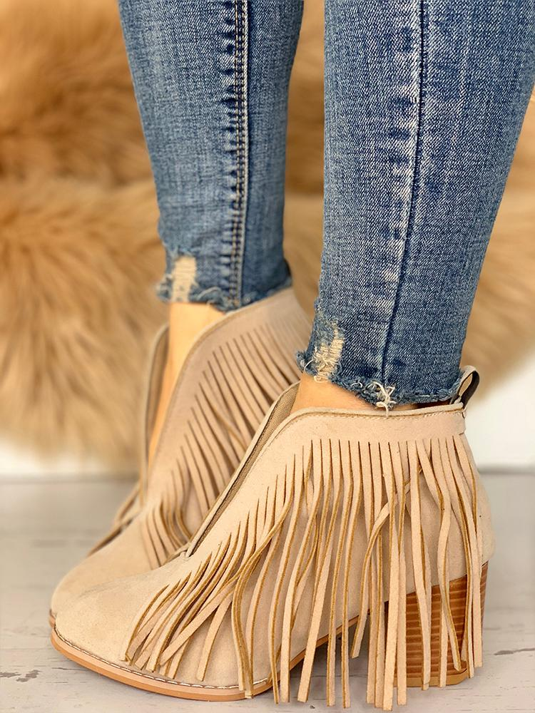 Tassel Embellished Chunky Heeled Boots