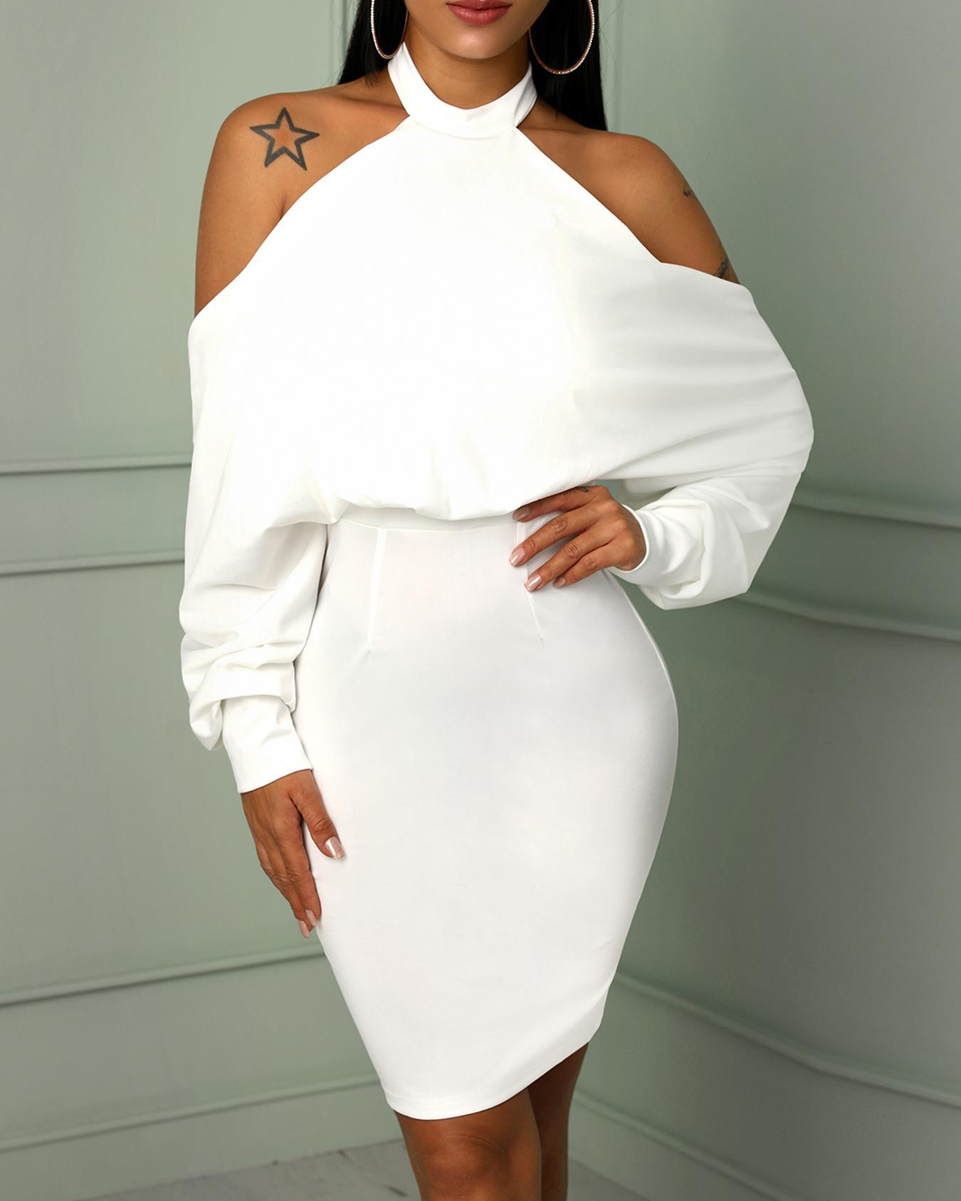 Halter Cold Shoulder Backless Bodycon Dress, White