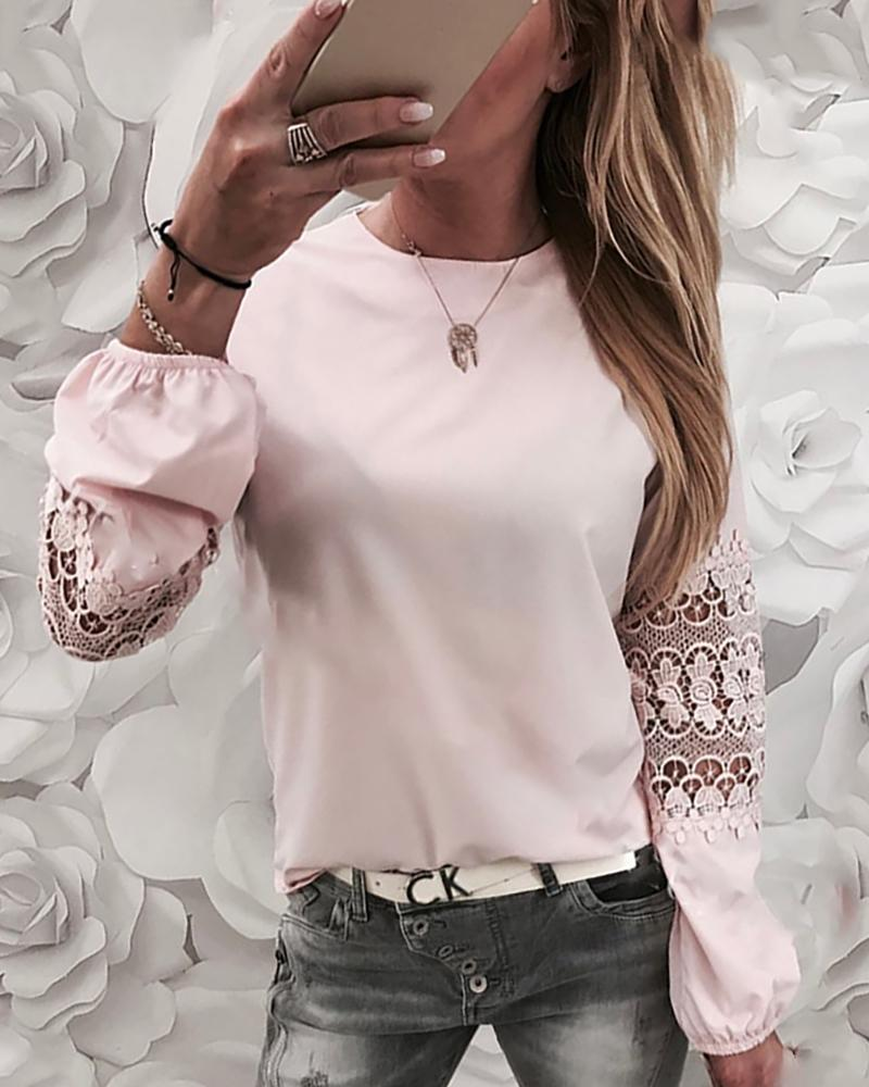 Crochet Lace Insert Long Sleeve Casual Blouse фото