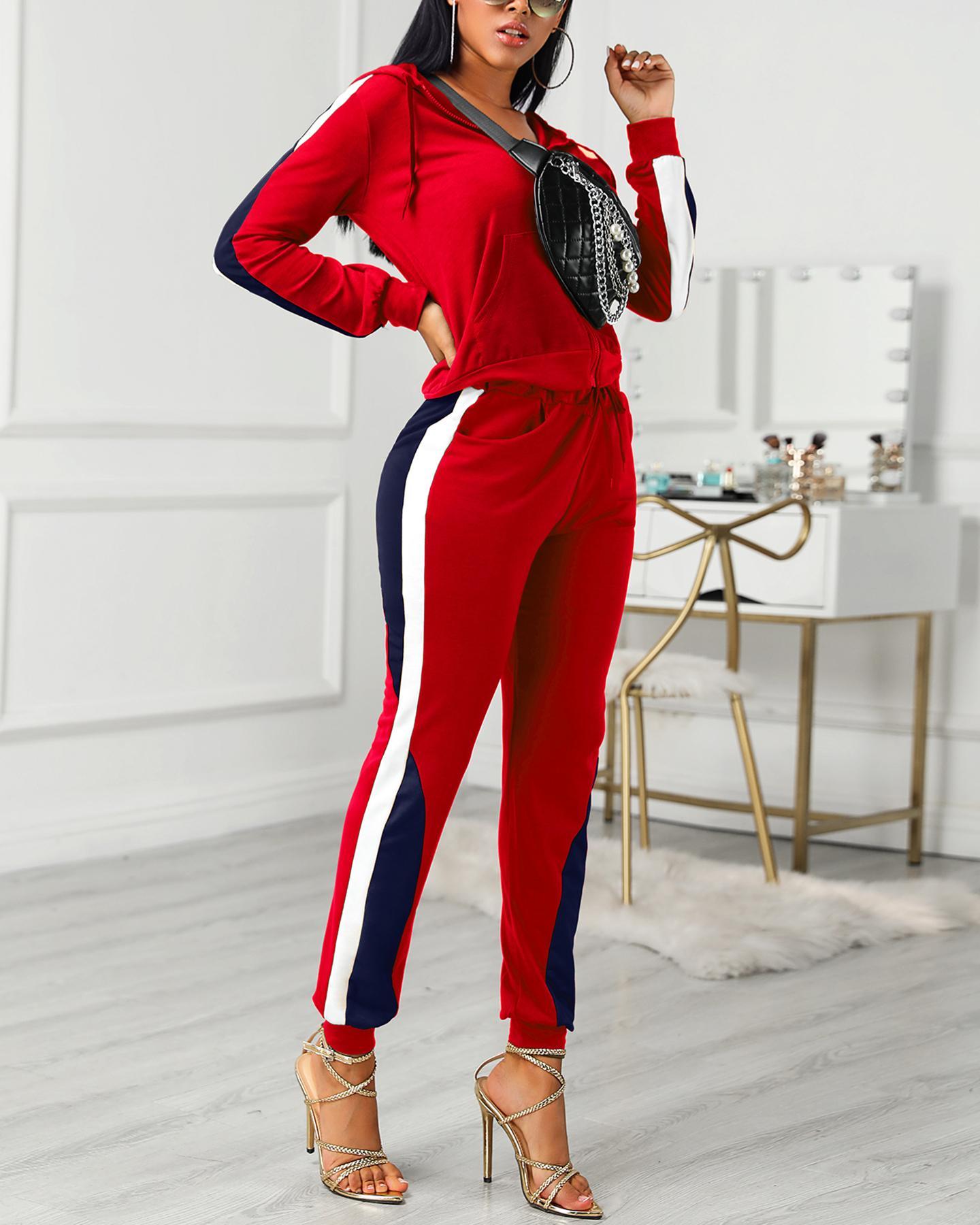 Colorblock Drawstring Design Zipped Top & Pant Sets, Red