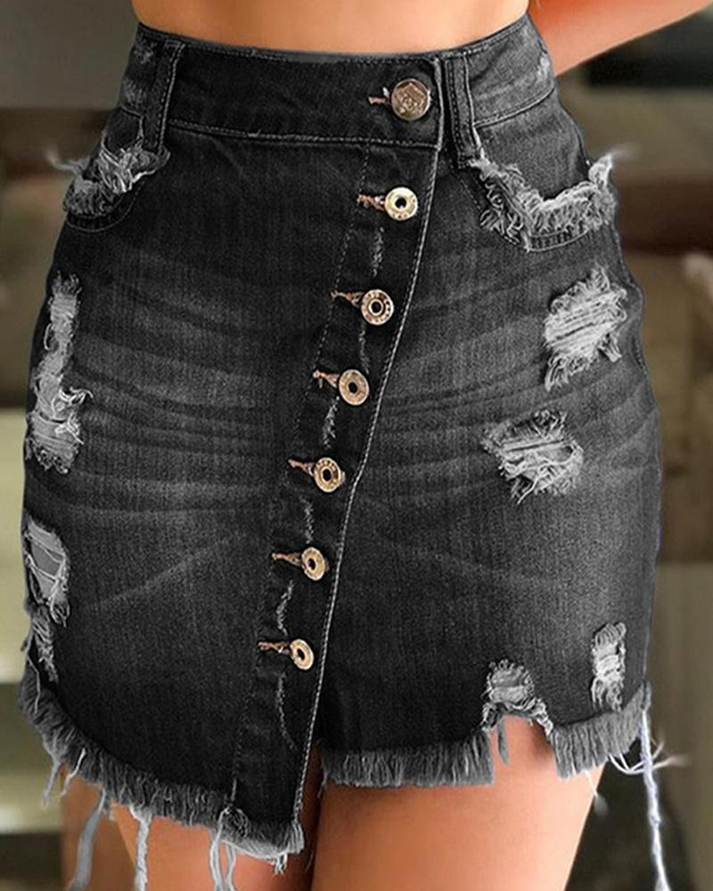 Distressed Button Detail Mini Skirt фото
