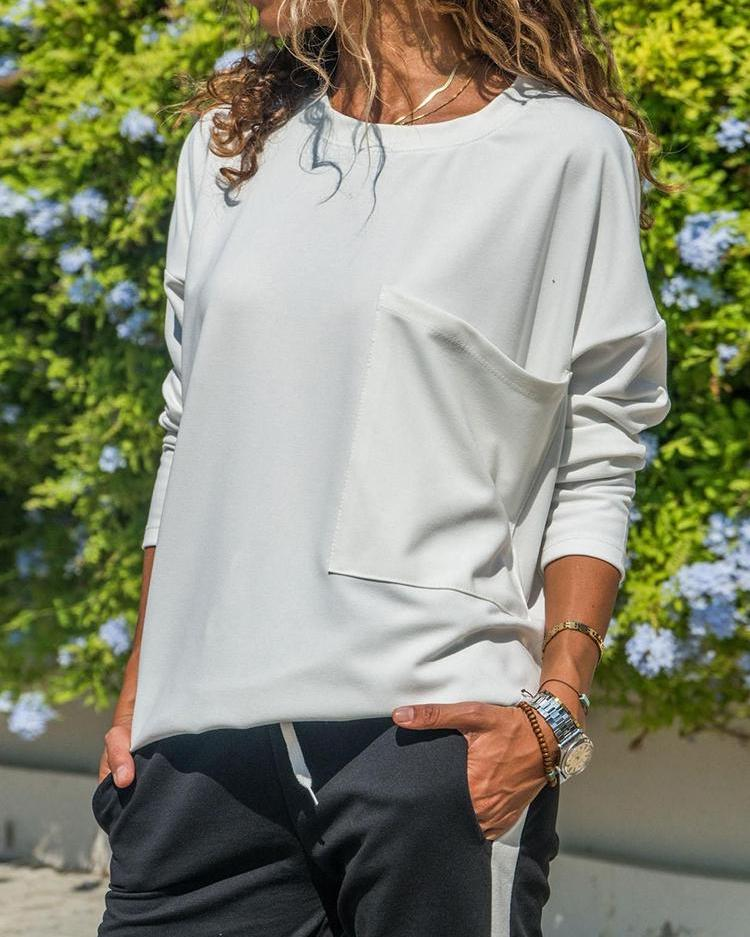 Solid Pocket Design Loose T-shirt фото