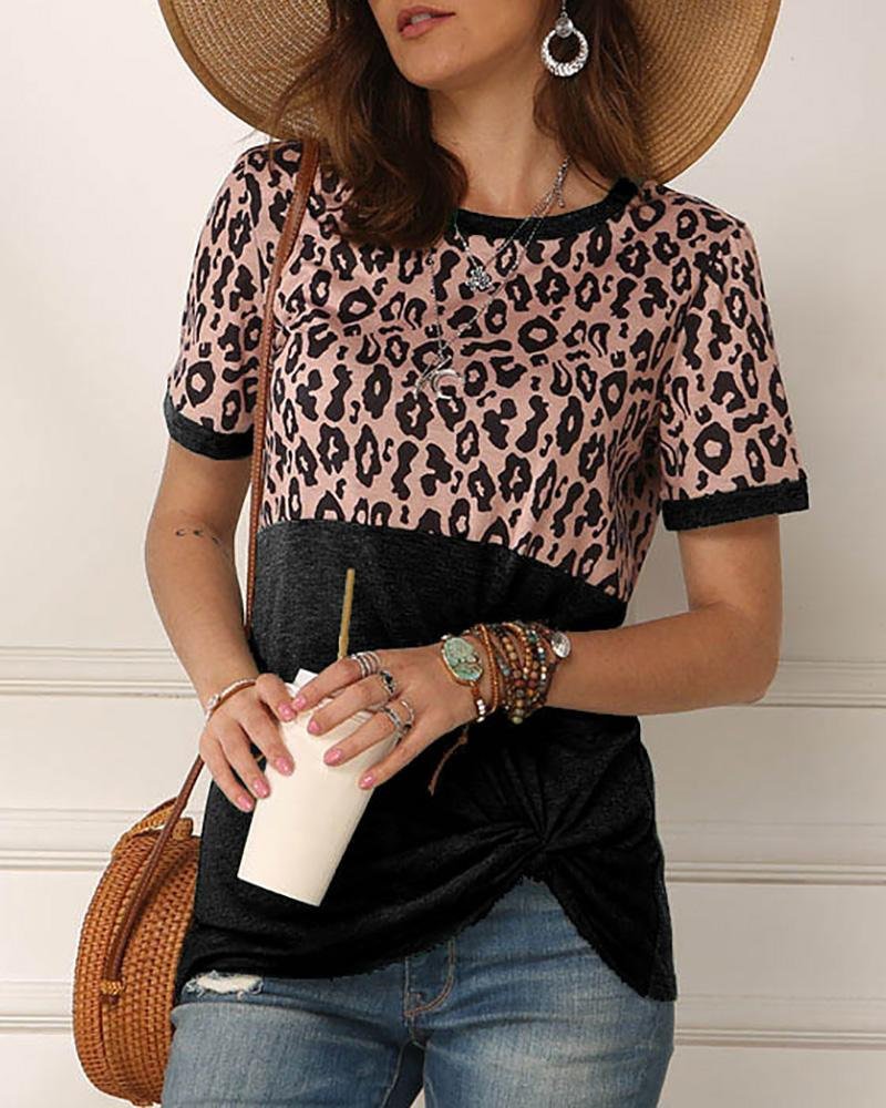 Leopard Print Twisted Casual T-shirt фото