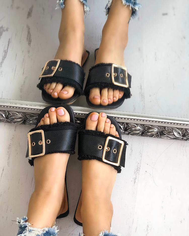 Trendy Belted Buckle Open Toe Flat Sandals