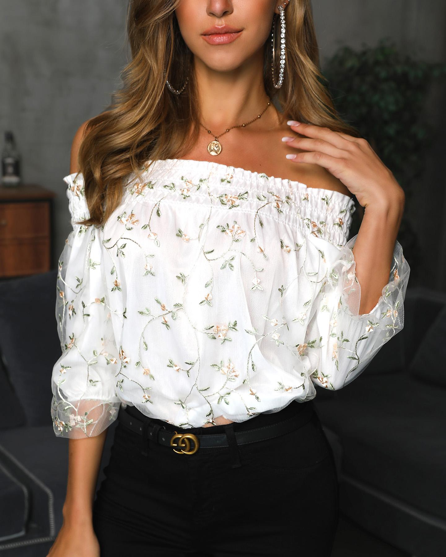 Floral Embroidery Mesh Off Shoulder Shirring Blouse