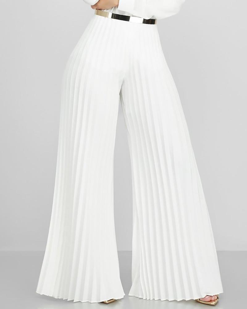Solid Pleated Wide Leg Casual Pant фото