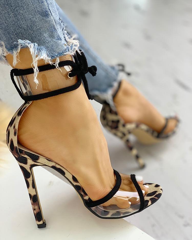 Contrast Binding Transparent Strap Heeled Sandals
