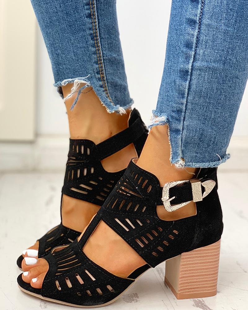 chicme / Solid Hollow Out Chunky Sandals