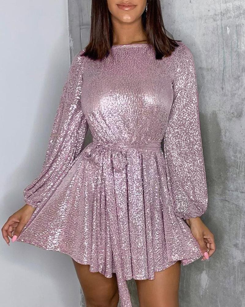 Glitter Long Sleeve Tie Waist Sequins Dress фото
