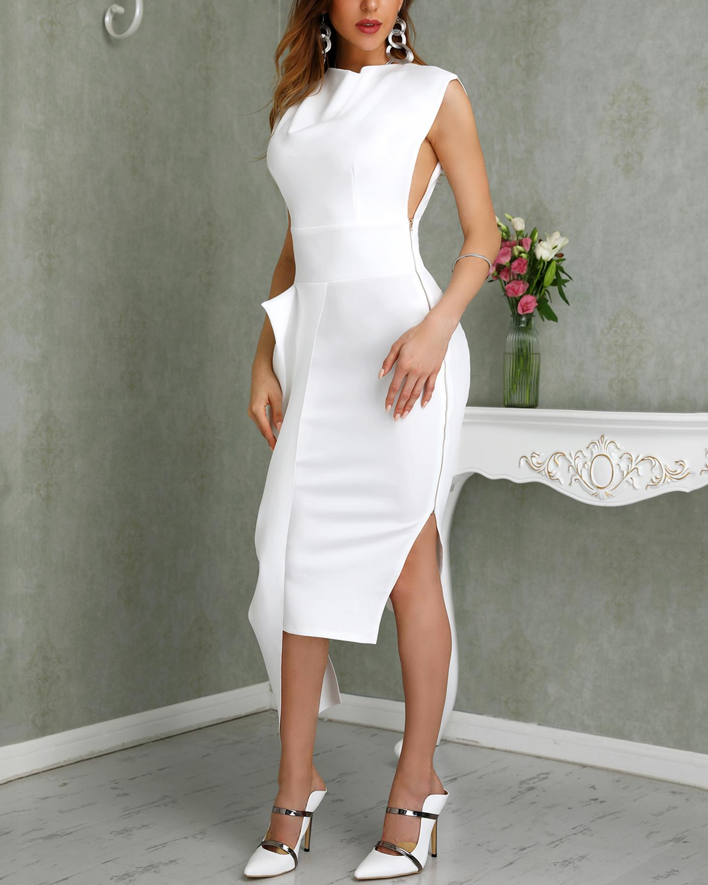 Solid Sleeveless Side Zipper Slit Irregular Dress фото