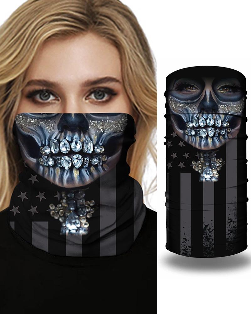 Skull Flag Print Breathable FaceBandana Magic Scarf Headwrap Balaclava фото
