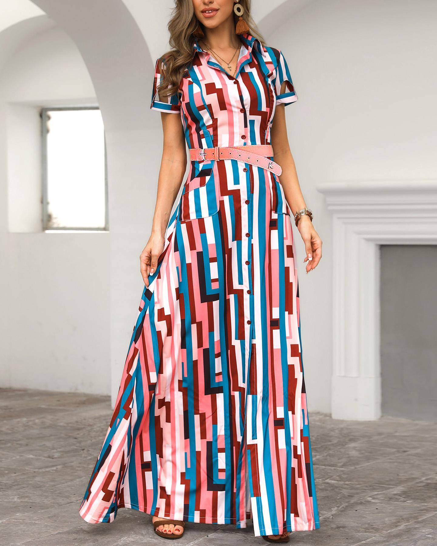 joyshoetique / Colorful Striped Print Shirt Maxi Dress