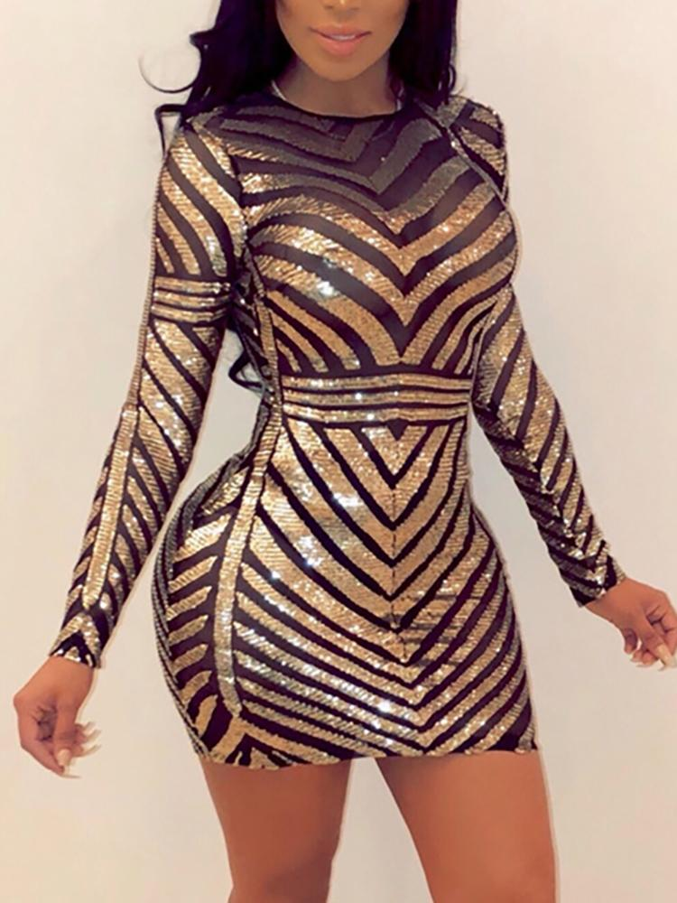 Open Back Sequin & Mesh Patchwork Party Dress