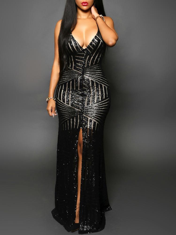 Sequins Deep V Open Back Slit Maxi Dress