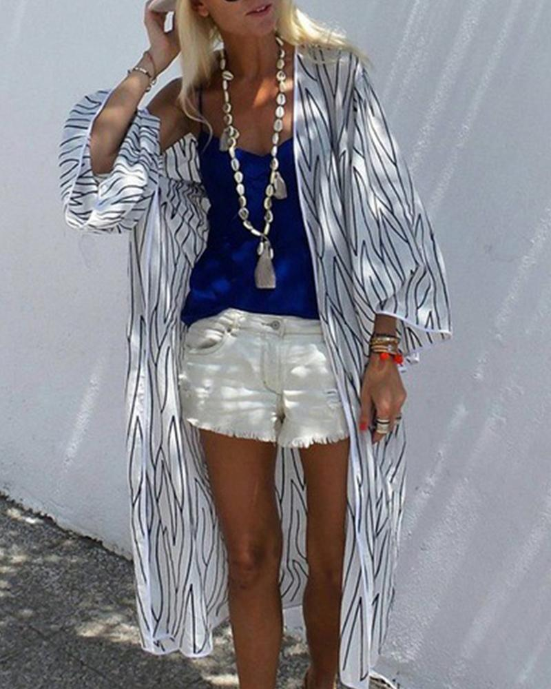 Striped Sun Protective Loose Shirt фото