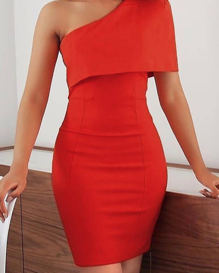 ivrose / Vestido de um ombro sólido Bodycon