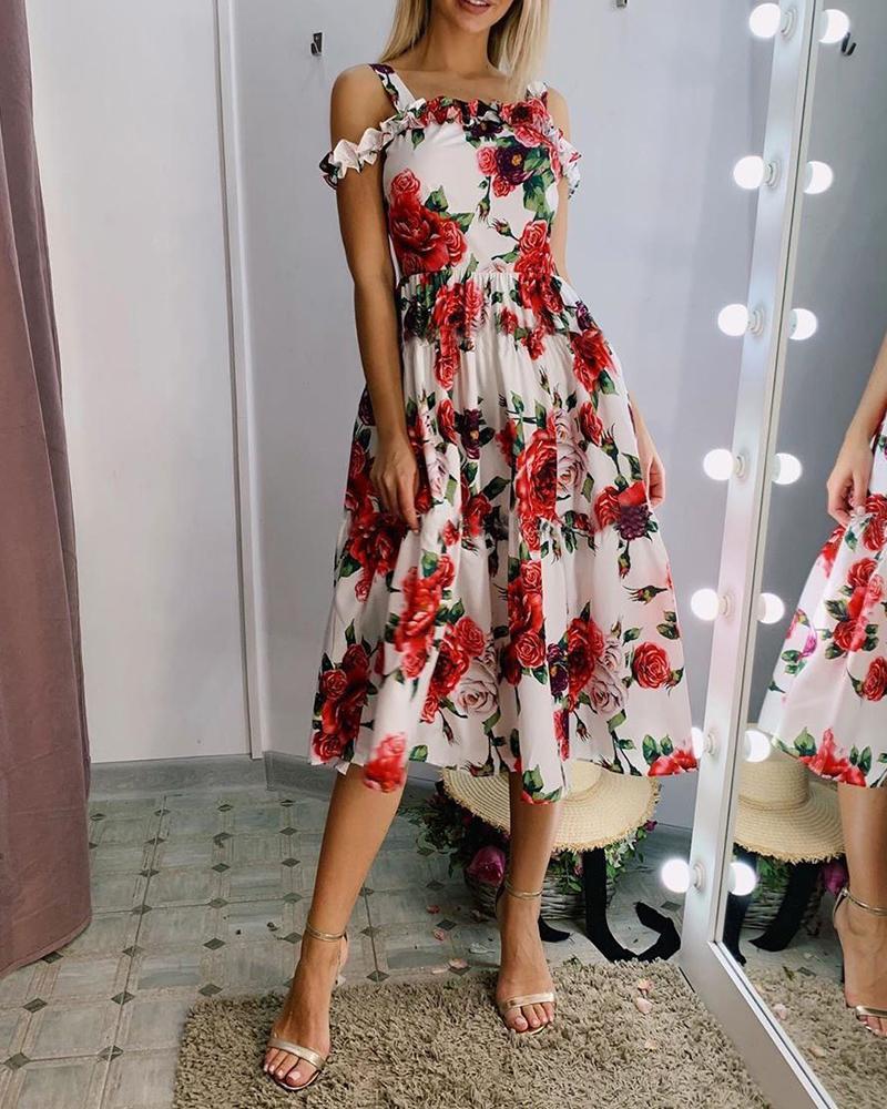Floral Print Cold Shoulder Frill Hem Dress, White