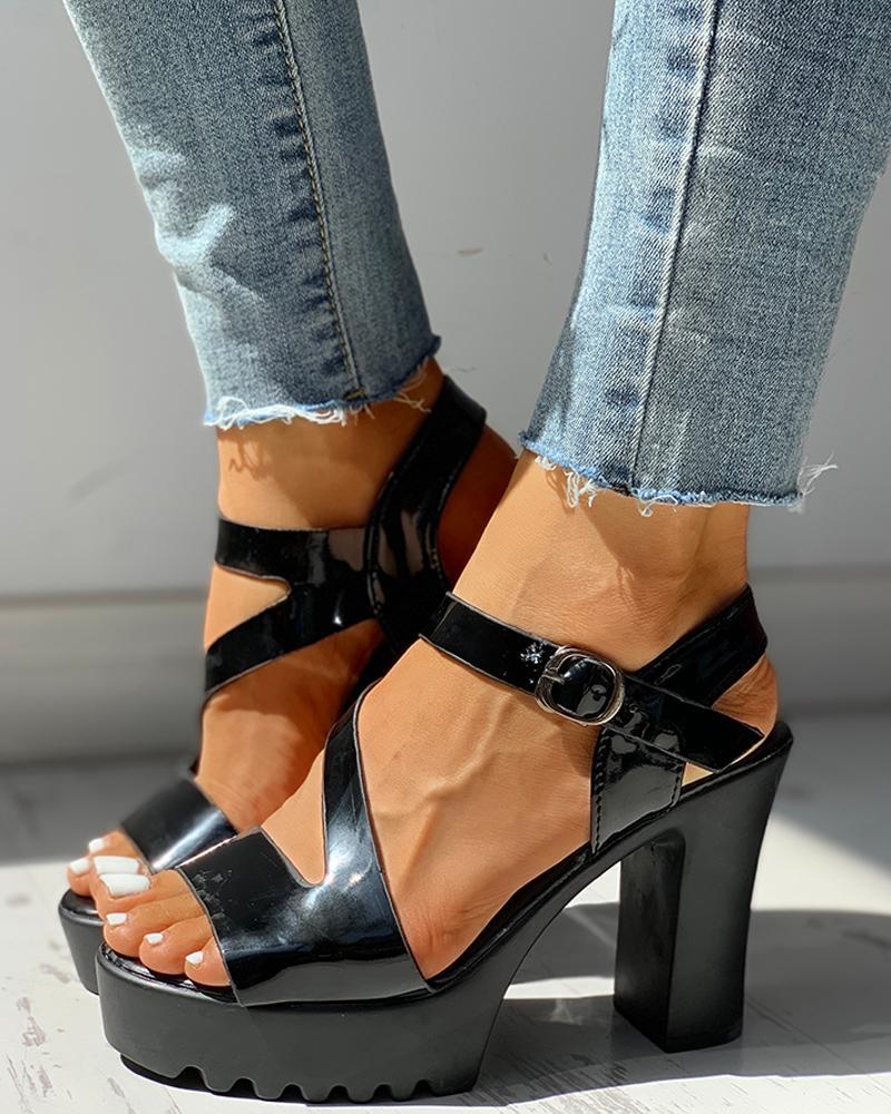 boutiquefeel / Sandalias de tacón grueso con plataforma y correa de tobillo abiertas