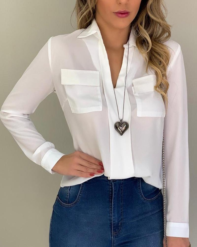 Solid Dual Pocket Casual Blouse, White