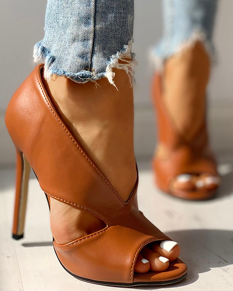 Solid Peep Toe Cut Out PU Thin Heels фото